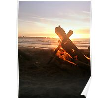 Flames Engulfing the Setting Sun Poster