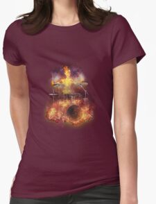 Flaming Skeleton Drummer Set 1 Womens Fitted T-Shirt