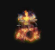 Flaming Skeleton Drummer Set 1 Unisex T-Shirt