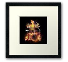 Flaming Skeleton Drummer Set 1 Framed Print