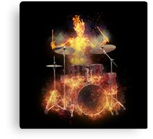 Flaming Skeleton Drummer Set 1 Canvas Print