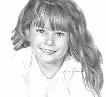 little girl pencil portrait by Mike Theuer
