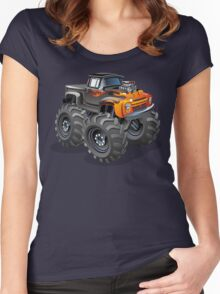 Cartoon monster truck Women's Fitted Scoop T-Shirt