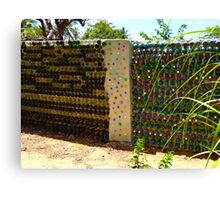 art with recycling - walls from bottles 1 Canvas Print