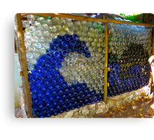 art with recycling - walls from bottles wave Canvas Print