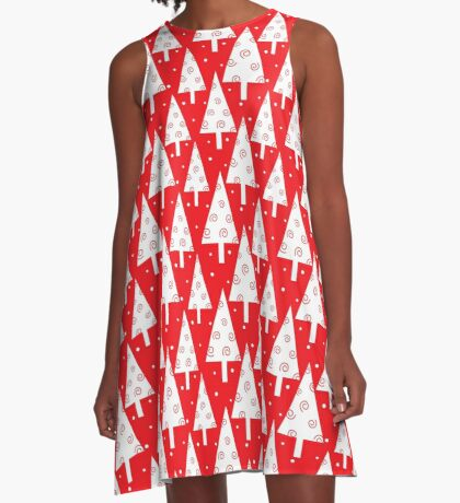 Red christmas trees pattern A-Line Dress