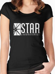 S.T.A.R Laboratories   White [HD] Women's Fitted Scoop T-Shirt