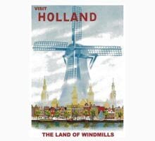 """HOLLAND"" Windmill Travel Advertising Print Kids Tee"