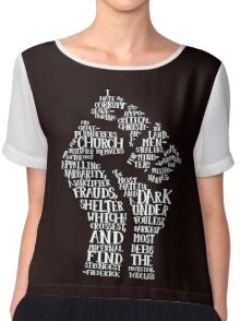 Raised Fist quote-cloud (white) by Tai's Tees Women's Chiffon Top