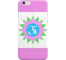 OM symbol on pink flower iPhone Case/Skin