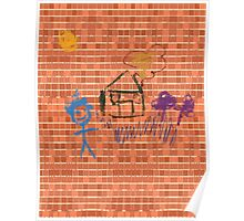 Pattern 023 Bricks and Crayon Drawings  Poster