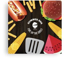 Summer BBQ fun food design Canvas Print