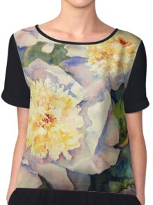 Yellow Pink Peonies Chiffon Top