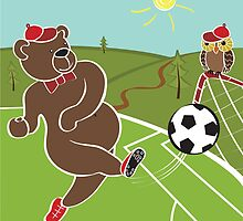 Brown bear plays football. Cartoon  humorous illustration by Tatiakost