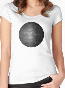 Grayscale triangle geometric squares Women's Fitted Scoop T-Shirt