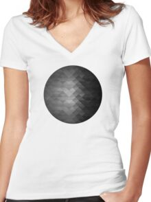 Grayscale triangle geometric squares Women's Fitted V-Neck T-Shirt