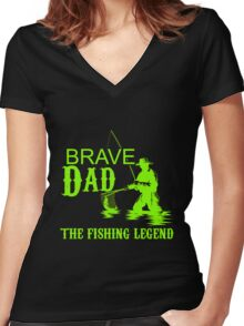 Fish- The Fishing Legend Women's Fitted V-Neck T-Shirt