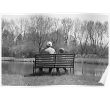 Young and old alike Great Grandfather and grandson at the pond on bench  Poster