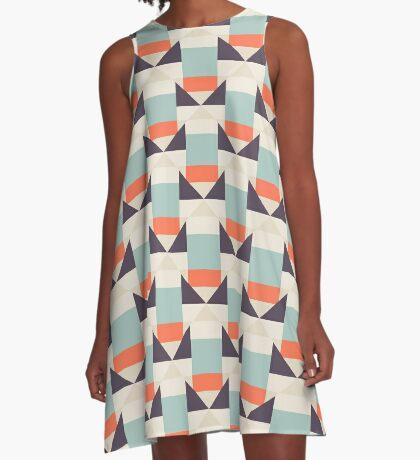 Geometric color blocked pattern A-Line Dress
