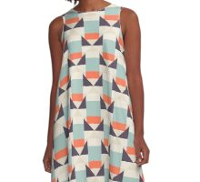 Geometric color blocked pattern A-Line Dress