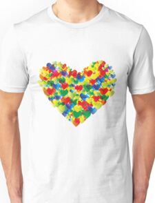 Colorful watercolor heart shapes Unisex T-Shirt