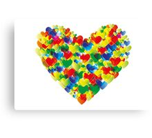 Colorful watercolor heart shapes Canvas Print