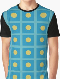 Pattern 029 Simple Blue Squares And yellow Dots Graphic T-Shirt
