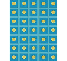 Pattern 029 Simple Blue Squares And yellow Dots Photographic Print