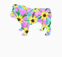 Bulldog Sunflower Watercolor Womens Fitted T-Shirt