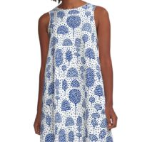 Arboretum 230715 - Navy Blue on White A-Line Dress