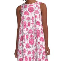 Arboretum 230715 - Neon Red on White A-Line Dress