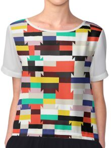Abstract geometric color blocked pattern Chiffon Top