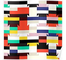 Abstract geometric color blocked pattern Poster