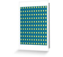 Pattern 030 Yellow Oval Dots Blue Background Greeting Card