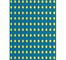 Pattern 030 Yellow Oval Dots Blue Background Photographic Print