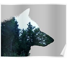 Wolf Forest Silhouette Poster