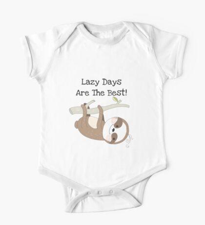 Cartoon Animals Sloth Lazy Days are Best One Piece - Short Sleeve