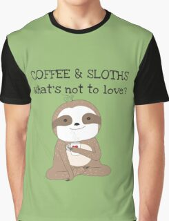 Cute Animals Coffee And Sloths Graphic T-Shirt