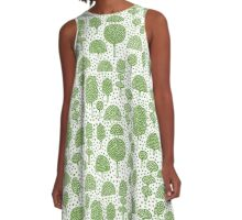 Arboretum 230715 - Avocado Green on White A-Line Dress