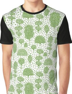 Arboretum 230715 - Avocado Green on White Graphic T-Shirt