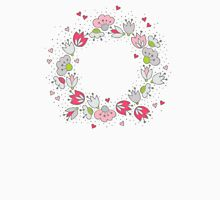 romantic wreath of pink flowers and hearts  T-Shirt