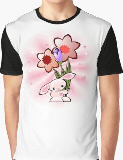 Cute Pink Bunny With Flowers Graphic T-Shirt