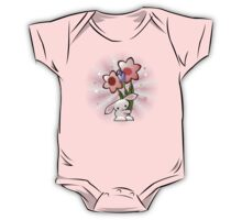 Cute Pink Bunny With Flowers One Piece - Short Sleeve