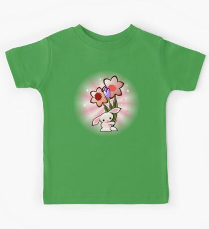 Cute Pink Bunny With Flowers Kids Tee