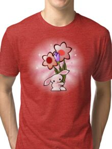 Cute Pink Bunny With Flowers Tri-blend T-Shirt