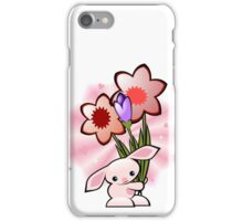 Cute Pink Bunny With Flowers iPhone Case/Skin