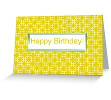 Yellow retro network squares Greeting Card