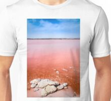 Pink salt lake and salt crystals at Torrevieja  Unisex T-Shirt