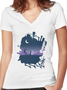 howls moving castle Women's Fitted V-Neck T-Shirt