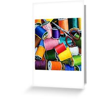 Threads - Colorful Sewing Thread painting Greeting Card